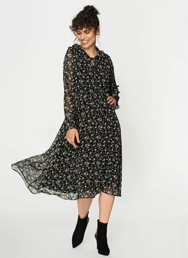 Loves You Maxi Boy Eteği Çan Emprime Şifon Elbise Siyah